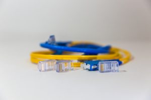 blue and yellow fiber optic cables